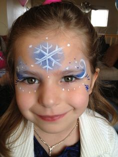 I could totally do this. I just need a plain white face paint crayon and a light blue face paint palette. I have glitter and dark blue.
