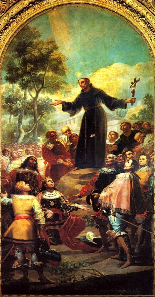 San Bernardino Predicando a Alfonso V de Aragón porción Francisco de Goya