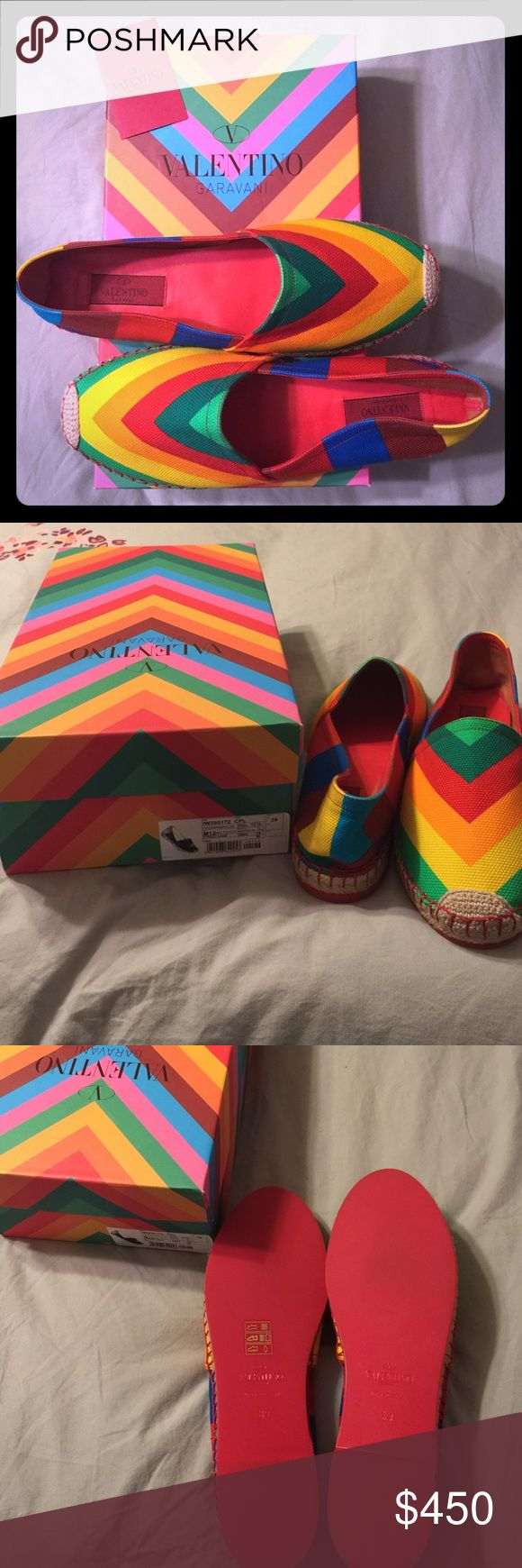Authentic Valentino Garavani Rainbow Espadrilles Authentic new in box with dust bag Valentino Garavani Rainbow Espadrilles in size 39. If interested, make me an offer below👇No email requests please. Comment below with any questions. Valentino Garavani Shoes Espadrilles