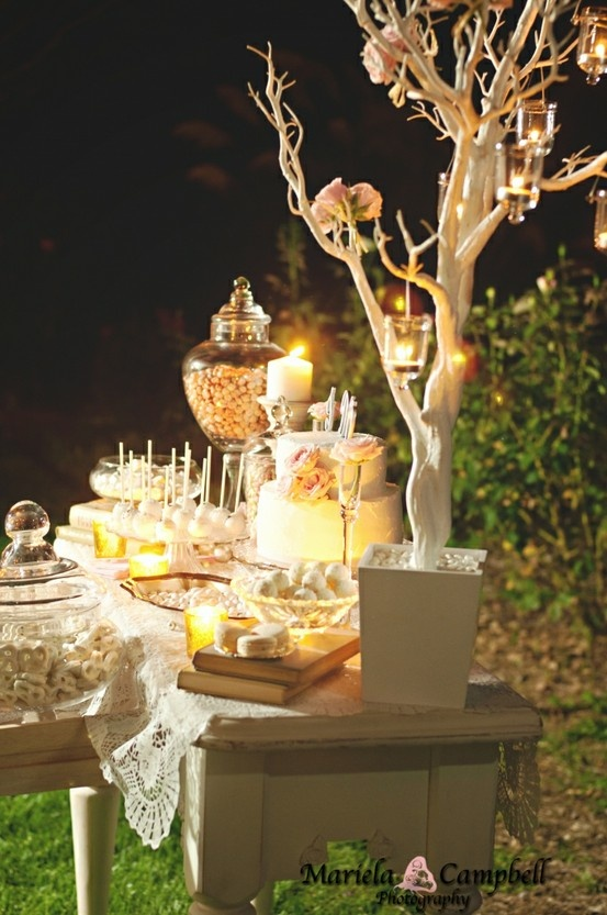 We could use the tree at the candy bar. I like the idea of hanging candles from the tree instead of having to plug in lights. What do you think Em? BTW, I have hanging votives we can use!