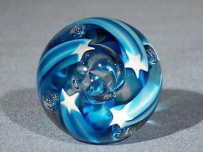 Marbles: Hand Made Art Glass James Alloway Shooting Stars Marble#1634  1.5 inch