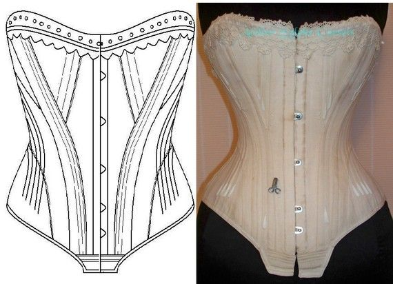 Ref 1 Early 1900 corset pattern drafted by AtelierSylphecorsets,