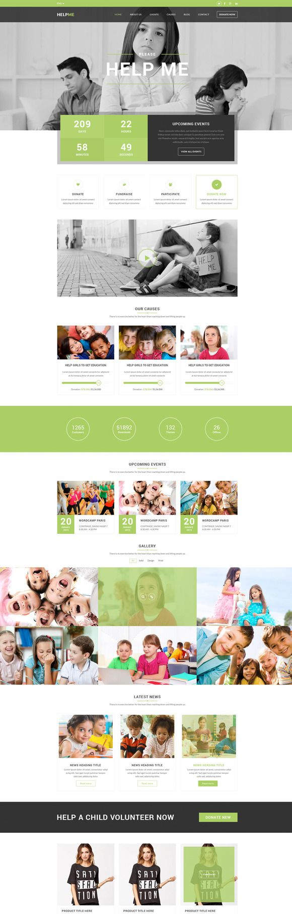 Helpme - Non-profit Charity Template by designs.villa on @creativemarket