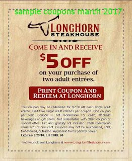 Longhorn Steakhouse coupons march