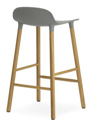 Tabouret de bar Form / H 65 cm - Pied chêne Gris / chêne - Normann Copenhagen