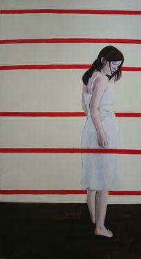 "Saatchi Art Artist Karoline Kroiß; Painting, ""red lines / rote Linien SOLD"" #art"
