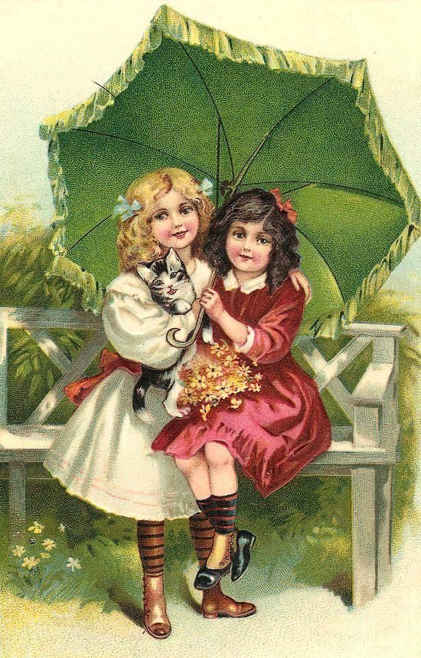 Over the Rainbeau, vintage, girls, parasol, cat, kitten, bench,