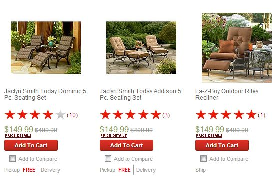 Outdoor Patio Furniture up to 70% OFF! I got a Bistro Set that includes 2 Chairs with Cushions & Table for just $53 {reg. $179.99!} -----> http://www.darlindeals.com/2013/08/kmart-patio-furniture-clearance-up-to-70-off.html