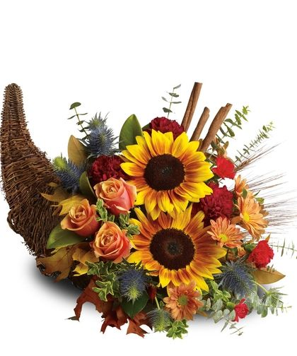 Thanksgiving Cornucopia, Roses, Carnations, Sunflowers.  Allen's Flowers & Plants, Voted San Diego's Best Florist 2010-2014!  http://www.allensflowers.com/product.cfm?iteID=2281