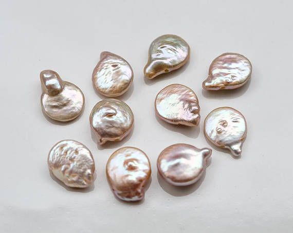 2749 Ash rose pearls 12x17 mm Natural coin pearls Top drilled