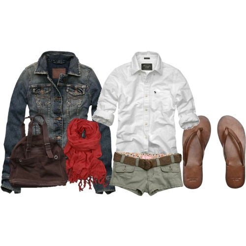 Cute cute cute: White Buttons, Style, Jeans Jackets, Khaki Shorts, Summer Outfits Denim Jackets, Casual Outfits, Red Scarves, Khakis Shorts, Longer Shorts