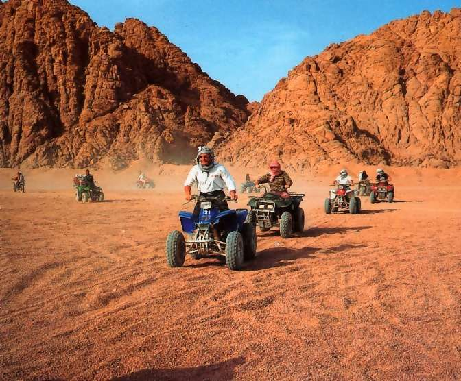 Sharm in Egypt in an awesome place to dive and quad bike - minimal regulations with regards safety.  Catch me now fun police!!