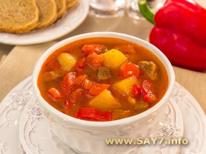 Венгерский суп «Гуляш»  Очень вкусный суп! Гуляшом также принято называть мясо в подливе. Но это - именно суп. Густой, наваристый, с богатым вкусом и ароматом. Конечно, лук можно обжарить на раститель…