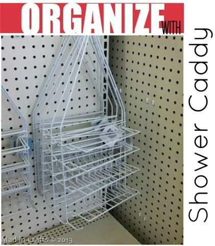 Dollar Store Shower Caddies - - perfect shelfs and hooks for organizing supplies.
