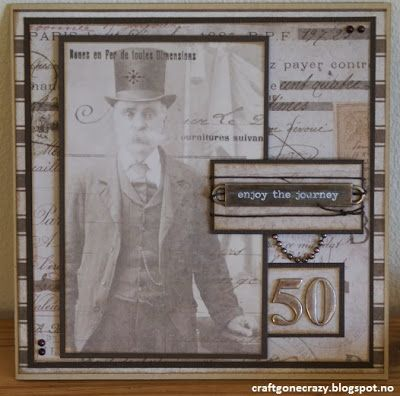 A gentleman card with the fab papers from Tim Holtz' French Industrial collection