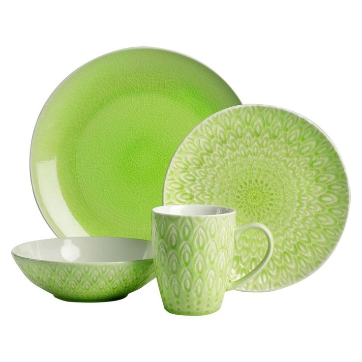 Peacock Green 16 Piece Dinnerware Set by EuroCeramica #EuroCeramica