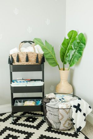 Just as important as the crib and other nursery staples, are the cute accessories that really make it shine. This one has the best decor. From cactuses and adventure, to bold, geometric prints and a fun, modern way of decorating with black and