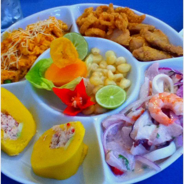 Seafood mix ceviche + causa + chicharrones y arroz con mariscos # peruvian food