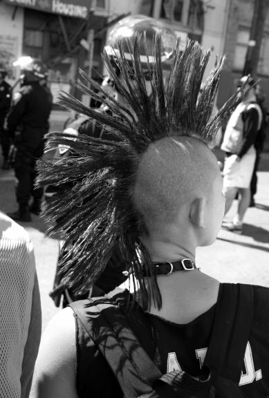 Punk rock girl.  You don't have to have a perfect hawk...or gaudy colored hair.  just get some shit and spike the thing.