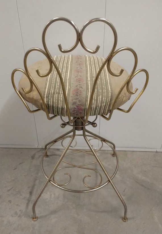 Vintage Vanity Chair. Brass Vanity Chair. Boudoir Chair