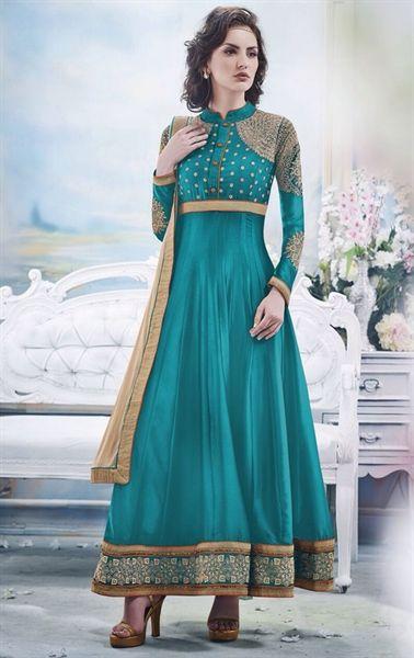 Picture of Alluring Cyan Blue Wedding Anarkali Salwar Kameez