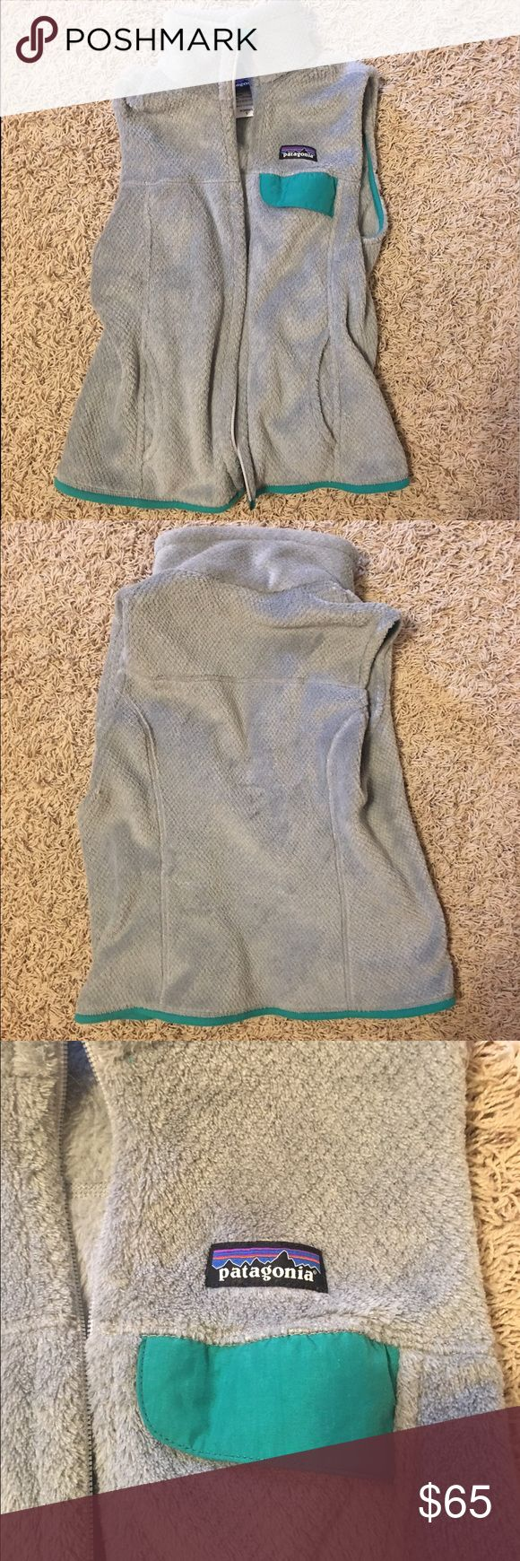 Women's Patagonia Fleece Vest Grey fleece vest with green outlining. Only worn it a couple times. Perfect condition. Patagonia Jackets & Coats Vests