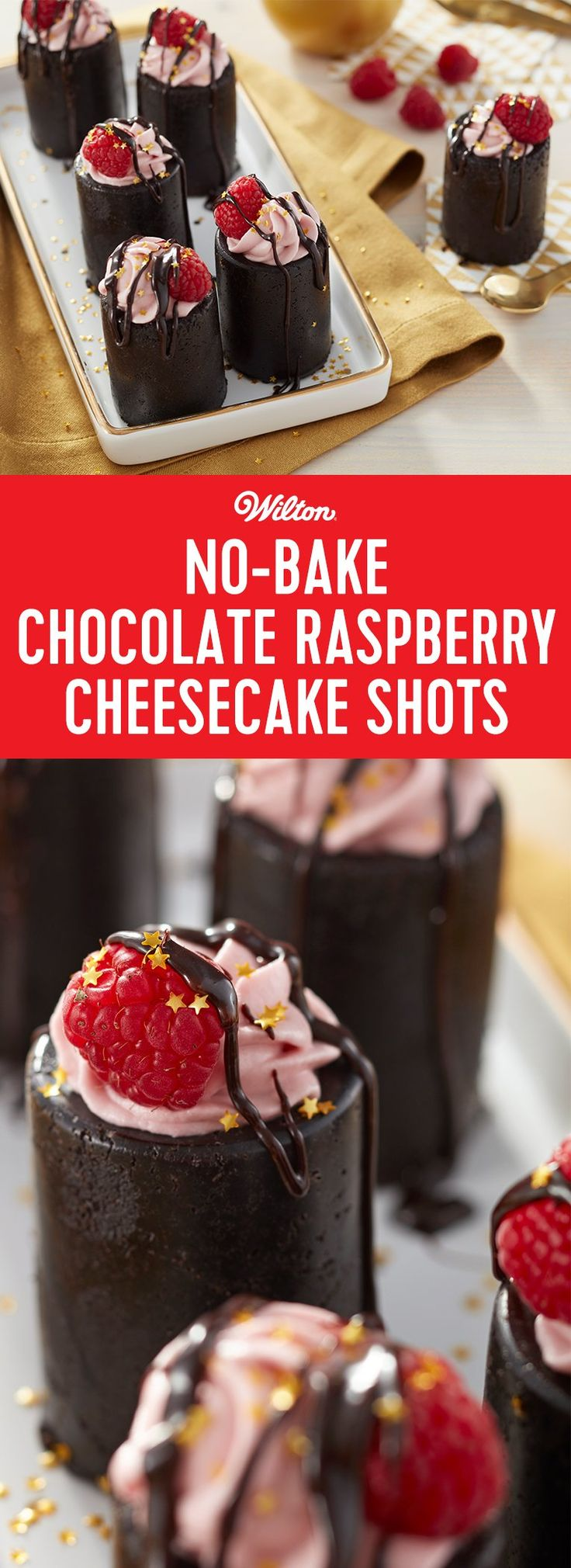 This No-Bake Chocolate Raspberry Cheesecake Shot recipe is just a little taste of something sweet! The shot glass is made using crushed cookies, then is filled with a raspberry-flavored cheesecake filling. Top your dessert shots with a little raspberry and a drizzle of chocolate syrup for a tasty end to your meal. #christmas #newyear #cheesecake #shotglass #wiltoncakes