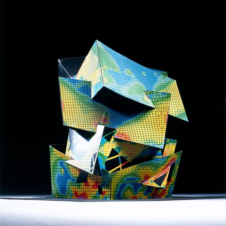 Structural analysis model for the extension of the V&A museum, designed by Daniel Libeskind in collaboration with Cecil Balmond, Britain, 1997.