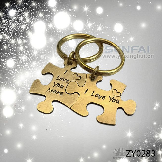 Hand Stamped Couple Keychain Engagement Gift,Autism Puzzle Piece Keychains…