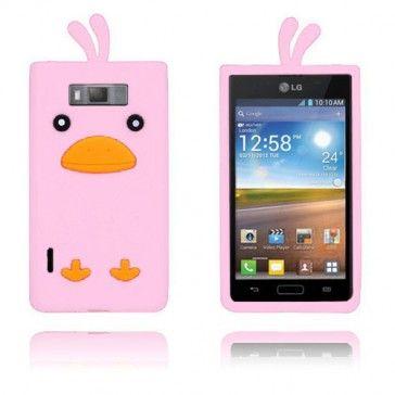 Anka (Rosa) Silikonskal till LG Optimus L7 - Skyddar din smartphone med ett kvackande utseende! LG Optimus L7-skal med stil.
