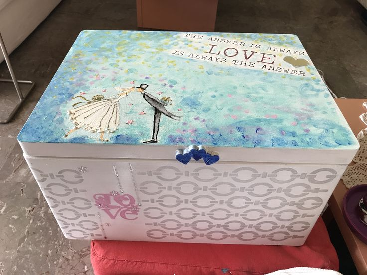 Wooden box with decoupage, stencil and painting  It is a present for friends who are getting married