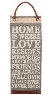 "The cotton hanging banner is the perfect decorative accent to set the tone for you home sweet home! The banner reads: ""Home is where love resides, memories are created, friends are always welcome and laughter never ends."""