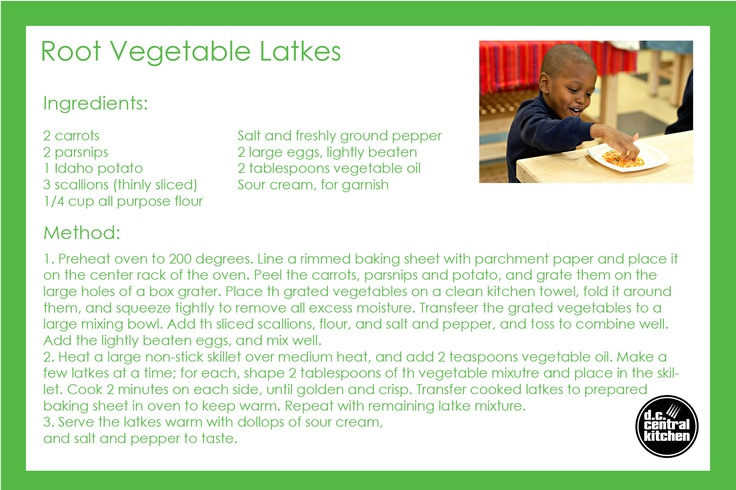 Root Vegetable Latkes - prepared by students in our pre-k cooking ...