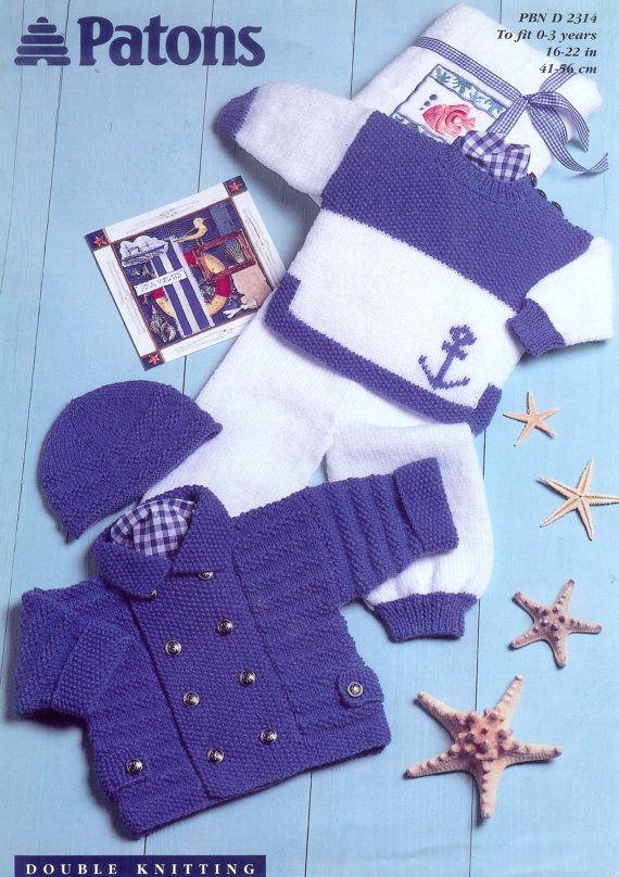 Bebé DK Chaqueta 8ply suéter polainas y sombrero 18-22 ins - pdf de un patrón que hace punto de la vendimia
