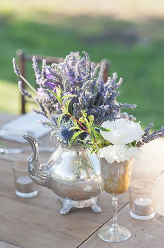 Add lavender to antique serving ware or canisters or tea cups or just about anything. Lavender can dress up for more elegant, formal affairs and dress down for rustic simplicity. A truly versatile flower.