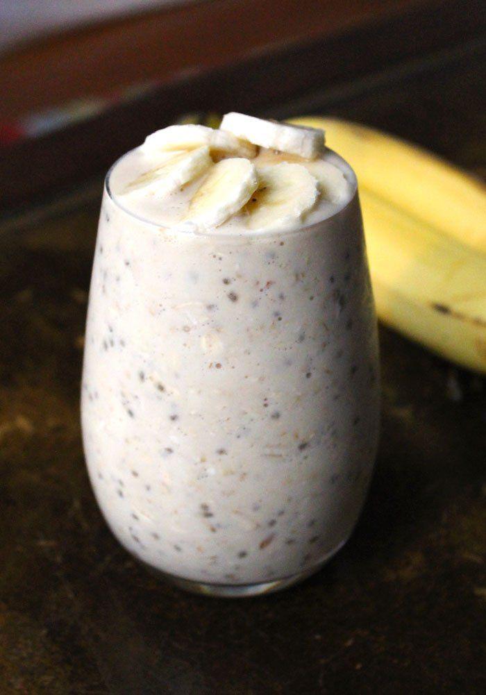 5-Ingredient Peanut Butter Banana Overnight Oats #oatmeal #breakfast #chia