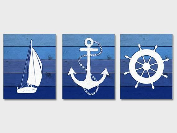 Rustic Nautical Decor -A collection of digital illustrations by NauticalDecorShop