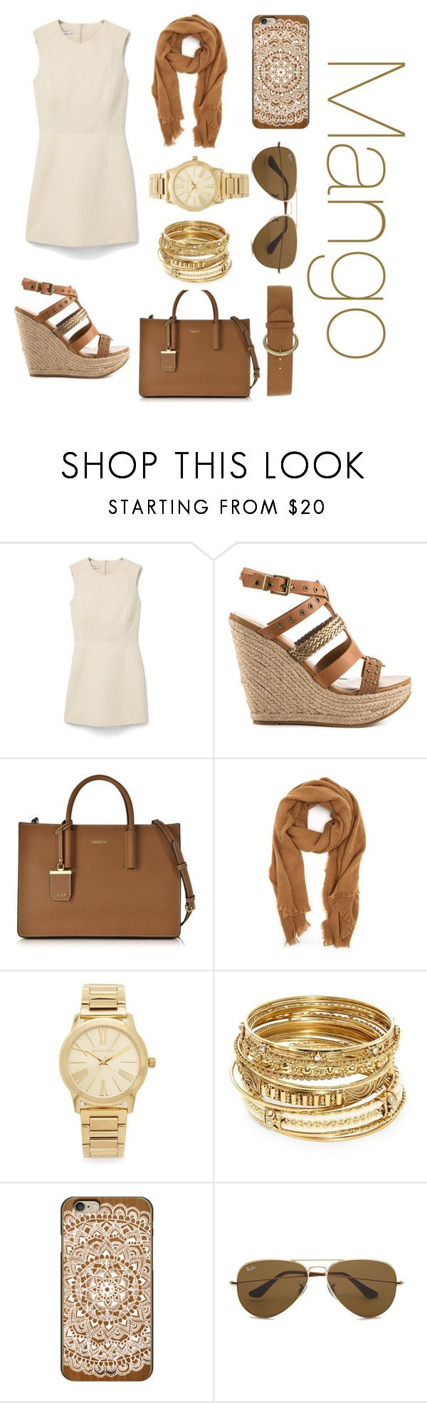 """Mango- Dress"" by gabydesigner on Polyvore featuring MANGO, ALDO, DKNY, Michael Kors, ABS by Allen Schwartz, Casetify, Ray-Ban and Dorothy Perkins"