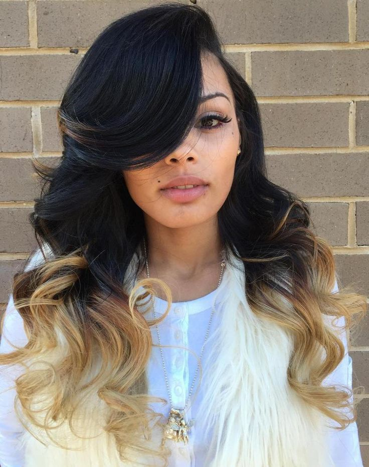 Long Side-Parted Ombre Weave Hairstyle