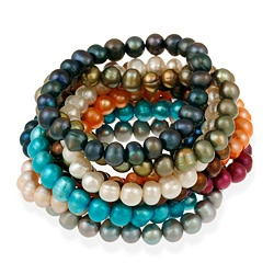 Stonique Creations Set of 10 Multi-colored Freshwater Pearl Stretch Bracelets (8-9 mm) $42.99