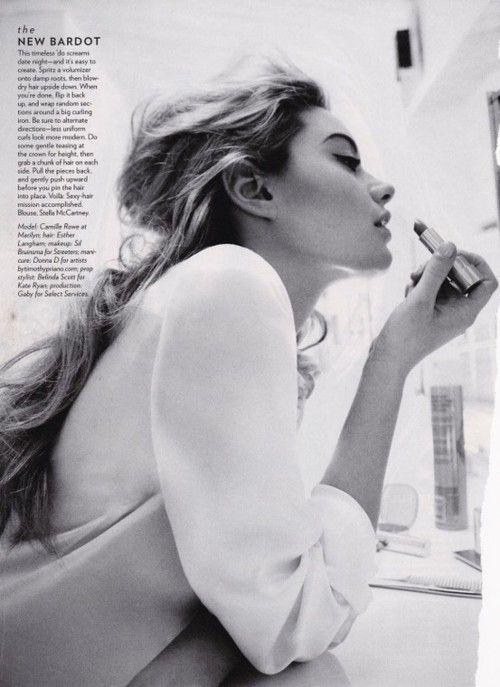 the new Bardot: Texture Hair, Mirror Mirror, Messy Hair, Cat Eye, Style, Makeup, Pucker Up, Black White, Photo