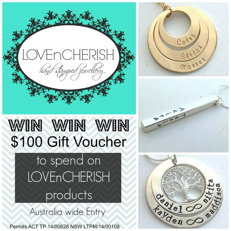 WIN a $100 LOVEnCHERISH Gift Voucher to design your own custom piece of jewellery! Re-Pin and enter here NOW - http://www.lovencherish.com/#!giveaways/cig7