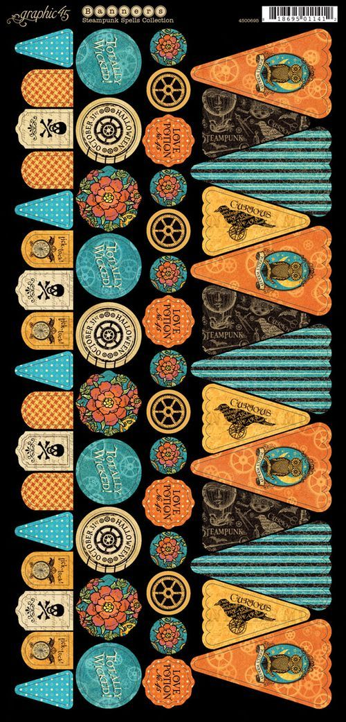 Cardstock Banners 1 from our new collection Steampunk Spells! #graphic45 #steampunk #sneakpeeks