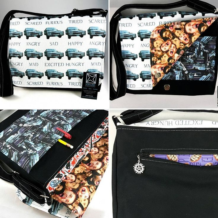 What a great #Supernatural compilation messenger bag!  This Superfan custom order is an ode to everything #Baby and #Dean!   From all the emotions of Baby on the front flap all the way to hiding some pie for Dean in the back pocket, this #geek bag has it all! by Stellar Evolution Designs