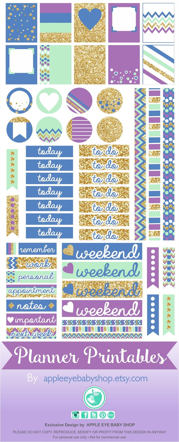 FREE Planner PRINTABLES | Filofax, Erin Condren, Life Planner, Agendas, Notecards, Organizing/Gift Labels, Notebooks, Stickers, Stationary, Journals, Plum Paper. DIY Crafts, Cricut or Silhouette Projects & more...  Gold Glitter, Purple, Mint, Blue. DOWNLOAD - PRINT & CUT. By Apple Eye Baby Shop