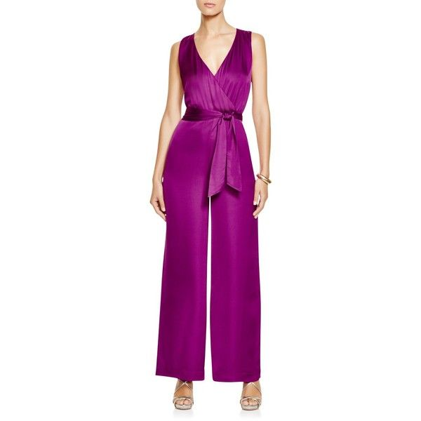 Lauren Ralph Lauren Wrap Jumpsuit ($175) ❤ liked on Polyvore featuring jumpsuits, holiday purple, jumpsuits & rompers, jump suit, purple jumpsuit, evening jumpsuits and tie belt