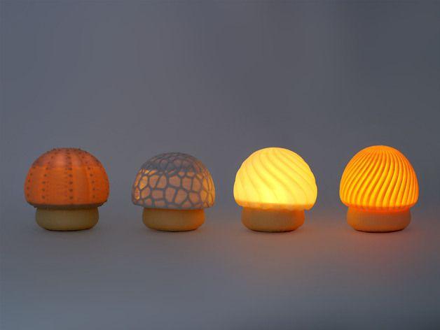 Faberdasher 3D printed Shroomies (electronic tea light holders) by Alanaaa