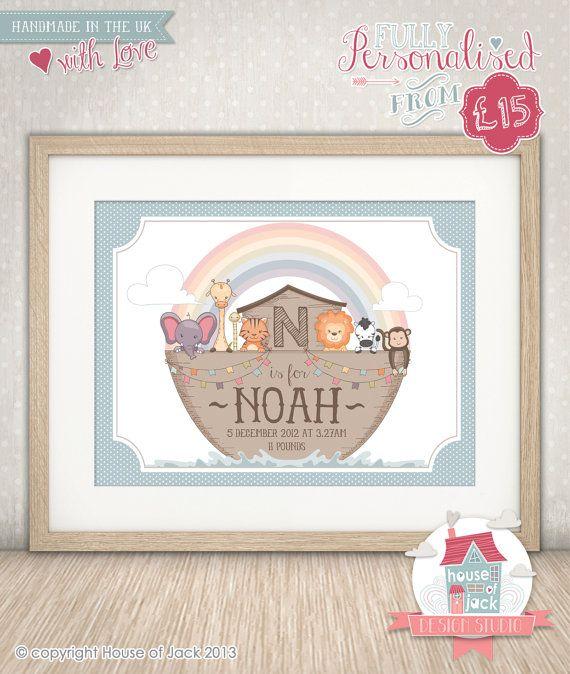 Personalised Art Print  Noah's Ark New Baby / by HouseofJackUK, £15.00