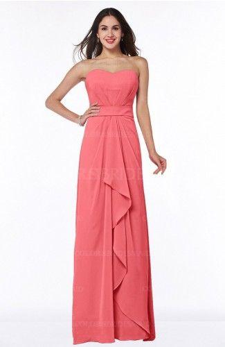 Coral Cute A-line Sleeveless Zip up Chiffon Sash Plus Size Bridesmaid Dresses