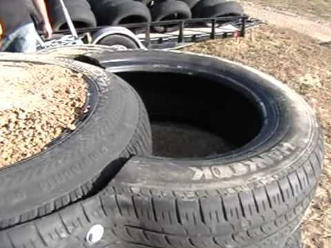 Earthship Construction, Half Tires for blocks